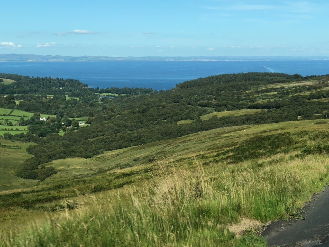 View of Brodick Bay from top of String Road
